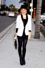 White-tuxedo-blazer-haute-rebellious-blazer-black-haute-rebellious-purse