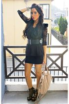 black Forever 21 dress - black Arden B blouse - beige H&M purse - silver WHOLESA