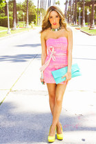 bubble gum strapples dress - yellow pumps wwwshophandrcom shoes