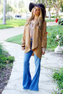 Light-blue-flare-denim-bebe-flare-denim-jeans