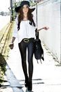 black belt - black Forever 21 hat - black leggings - black DLA purse