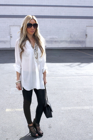 white blouse - black leggings - black shoes - accessories
