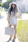 White-h-m-dress-neutral-coat-h-m-accessories-white-american-apparel-hat-