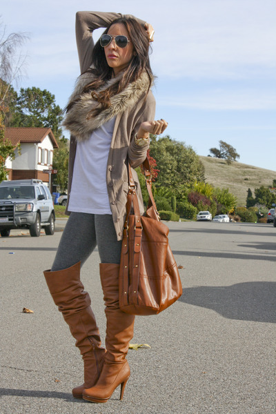 H&amp;M purse - leggings - shirt - Forever 21 bra - fox fur H&amp;M accessories