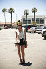 Black-h-m-shorts-white-melrose-boutique-top-steve-madden-shoes-brown