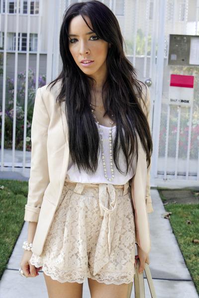 beige H&M blazer - white Final Touch blouse - beige H&M shorts - beige Target ti