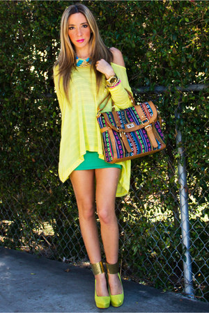 camel HAUTE & REBELLIOUS bag - yellow neon HAUTE & REBELLIOUS blouse