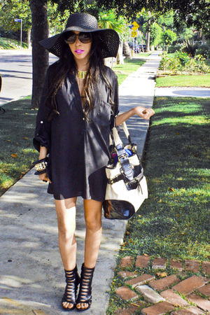 black ELLSEY shirt - black Aldo shoes - black STEET VENDOR hat - gold WHOLESALE