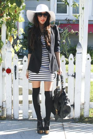 black Zara blazer - black Jessica Simpson shoes - white H&amp;M dress