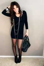 black American Apparel dress - black tights - silver Silver necklace - downtown