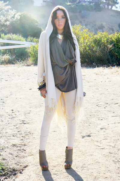 gray blouse - white leggings - brown belt - gray bracelet - beige cardigan