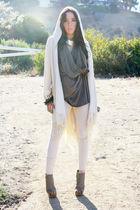 gray blouse - white leggings - brown belt - gray bracelet - beige cardigan