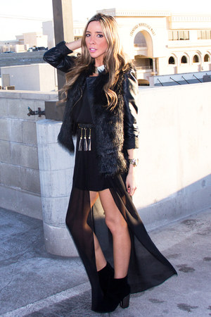 black HAUTE &amp; REBELLIOUS dress - black Aldo boots - black leather H&amp;M jacket