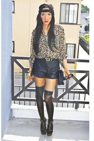 white leopard H&M blouse - black Target tights - black Chanel purse