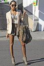 camel fur purse - olive green shoes - tan H&M blazer - dark khaki shorts