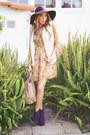 Purple-suede-boots-haute-rebellious-boots-mustard-haute-rebellious-dress