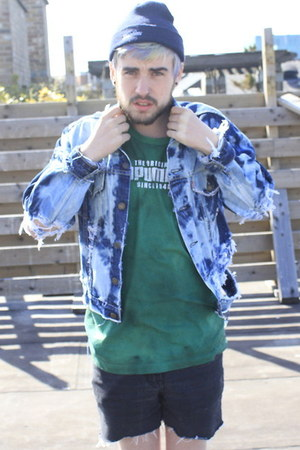 blue 9crowstreetcom jacket - green tie dyed adidas t-shirt