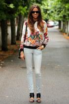 Zara blouse - ray-ban sunglasses - Zara sandals