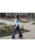 brown Zara boots - periwinkle Massimo Dutti blouse - gray Zara pants