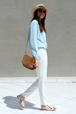 Bimba y Lola hat - ray-ban sunglasses - Max Mara sandals - Zara pants
