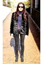 black Lefties coat - black Bershka jeans - rayban sunglasses