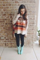 burnt orange aztec Lulus top - aquamarine mint Lulus boots - black Gap jeans