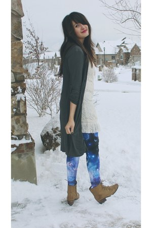deep purple galaxy Forever 21 New leggings - light brown lulus boots