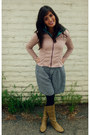 Dark-khaki-faux-leather-forever-young-boots-light-pink-express-jacket
