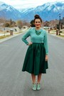 Teal-choies-shirt-dark-green-midi-choies-skirt