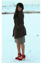 light brown Shabby Apple dress - dark brown Forever 21 coat