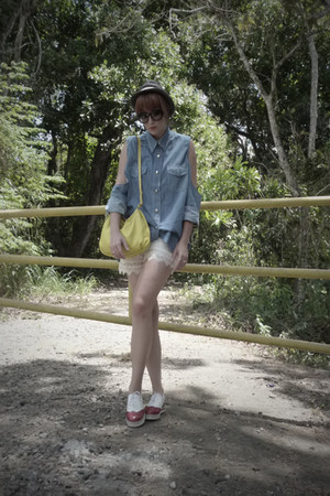 thrifted selfmade blouse - Zara hat - Ettiene Aigner bag
