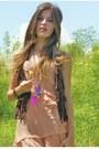 Nude-marshalls-dress-dark-brown-walmart-vest-magenta-american-eagle-necklace