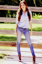 blue skinny jeans American Eagle jeans - dark brown boots Aldo shoes