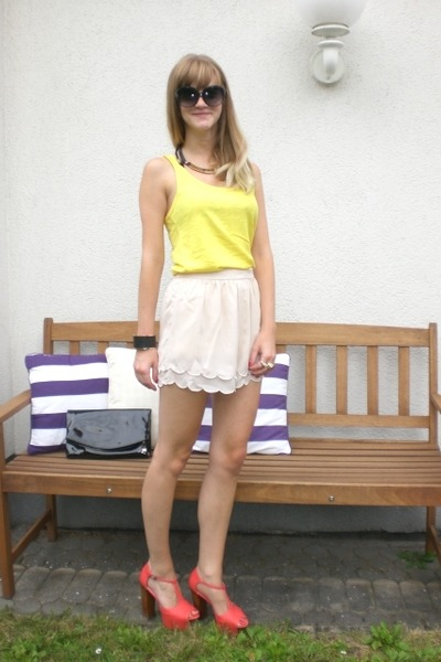 red Nelly heels - cream H&M shorts - yellow Mango top