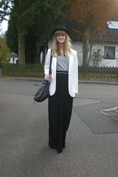 white H&M blazer - heather gray H&M shirt - black H&M skirt