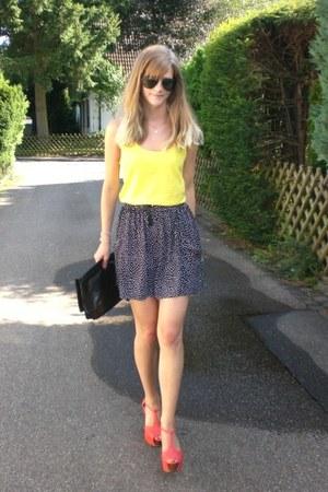 Nelly shoes - yellow Mango shirt - black Zara skirt