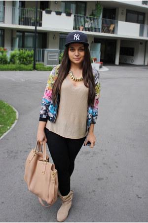 flowers H&M jacket - tan studded Stradivarius boots - ny hat - Musette bag