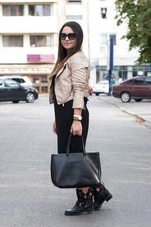 beige Takko fashion jacket - leather Zara boots - black Furla bag