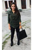 spikes studded boots - army Zara shirt - leather reserved bag