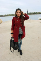 crimson burgundy Forever 21 coat - denim Zara jeans - spiked Zara sweater