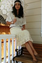 light brown flats Forever 21 shoes - white Forever 21 shirt - ivory parasol Batt
