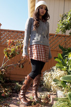 Wet Sea and Bunny Patch-DIY sweater - long boots Vince Camuto boots