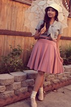 pink pleated skirt zizi bee skirt - eggshell brogues Bamboo shoes