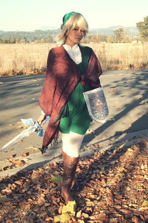 green DIY hat - dark brown knee high Vince Camuto boots