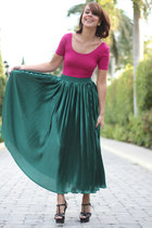 black YSL shoes - green American Apparel skirt - magenta American Apparel top