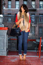 Red-vintage-blazer-brown-h-m-scarf-beige-pour-la-victoire-shoes-blue-marc-
