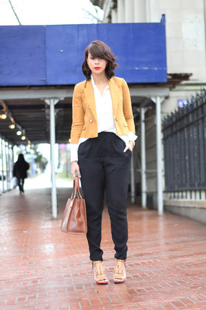 mustard Zara jacket - brown DKNY bag - black H&M pants