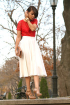 red American Apparel top - ivory madewell skirt - tan Pour La Victoire shoes - t
