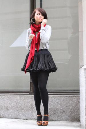 red Zara scarf - heather gray Lux sweatshirt - black American Apparel skirt