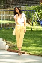 yellow American Apparel pants - brown Kelsi Dagger shoes - beige vintage purse